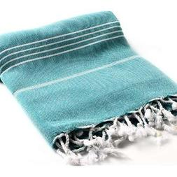 Cacala 100% Cotton Pestemal Turkish Bath Towel, 37 x 70, Aqu