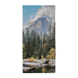 CafePress - Autumn Mountain & River Scene - Large Beach Towe