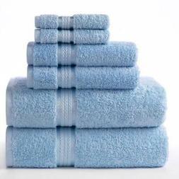 Cotton Craft Ultra Soft 6 Piece Towel Set Light Blue, Luxuri