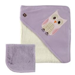 Hudson Baby Bamboo Hooded Bath Towel and Washcloth, Purple O