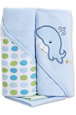 Spasilk Hooded Terry Bath Towel with Washcloths, Whale Blue,
