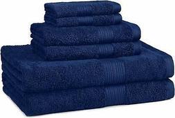 AmazonBasics 6-Piece Fade-Resistant Bath Towel Set - Navy Bl