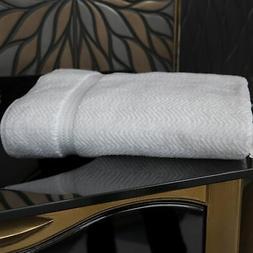 Authentic Plush Herringbone Weave Hotel and Spa Turkish Whit