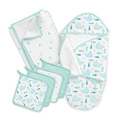 SwaddleMe Baby Bath 5 Piece Gift Set, Striped Whales, One Si