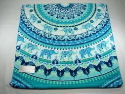 Casaba Bath Towel - Floral Elephant Print - Turquoise Aqua B