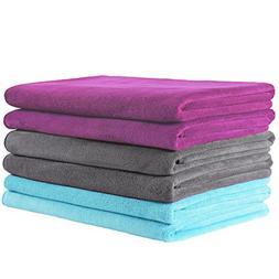 "JML Microfiber Towels, Grey/Burgundy/Light Blue, 27"" x 55"""