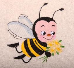 Bath Towel Set with Embroidered Honey Bee with Flowers