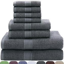 VEEYOO Bath Towels Sets 8 Pieces - 100% Cotton Luxury Hotel