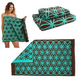 Best Bath Towel Set !!! , Brown and Turquoise Flower of Life
