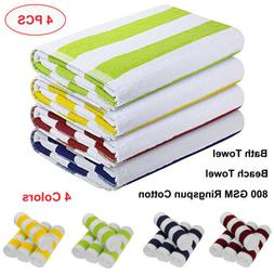 Bath Towels 4 Pack Towel Set 30 x 60 Inches Cotton Soft Beac