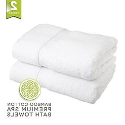 LionFinch Luxury Spa Bamboo Bath Towels- Set of 2. Extra Lar