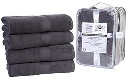 4 Pack Cotton Bath Towels set- 600 GSM 100% Combed Cotton Ba