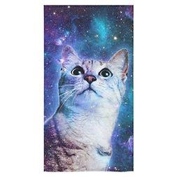 Artsadd Bathroom Shower Towel Space Galaxy Cat Bath Towel 30