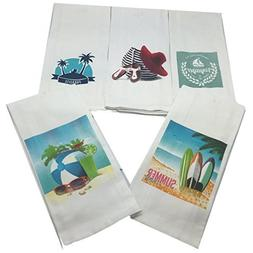 Beach Theme Bathroom Towel Set-Set of 5 Nautical Hand Towels
