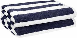 AmazonBasics Beach Towel - Cabana Stripe Navy Blue Pack of 2