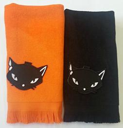 lot of 2 Black Cat fingertip Towels halloween decor orange a