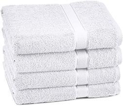 Pinzon Blended Egyptian Cotton 4 Bath Towel Set White 4 Bath
