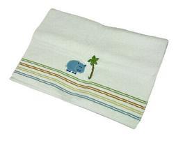 Blue Safari Hippo Colorful Striped 100% Cotton White Bath To