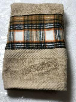 Brown flannel plaid accent towel - home / lodge kitchen bath