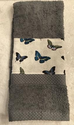 Butterfly hand towel - Gray  Kitchen Bath home decor