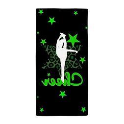 CafePress - Black And Green Cheerleader - Large Beach Towel,