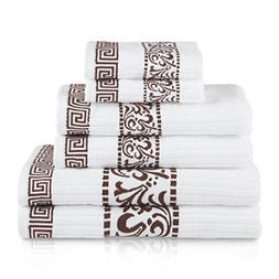 6 Piece Chocolate Floral Towel Set With 30 X 52 Inches Bath