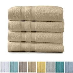 Great Bay Home 4-Pack Premium 100% Cotton Bath Towel Set  Mu