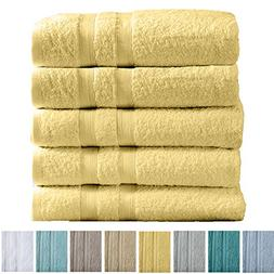 Great Bay Home 5-Pack Premium 100% Cotton Bath Towel Set  Mu