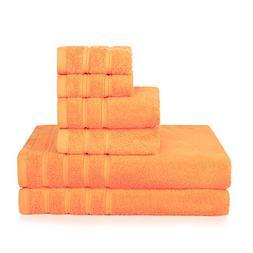 PROMIC 100% Cotton Bath Towel Set, 6 Piece Includes 2 Bath T