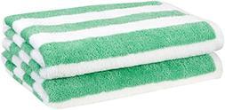 AmazonBasics Beach Towel - Cabana Stripe, Green, Pack of 2
