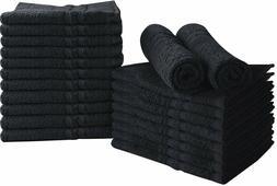 24 Pack Cotton Bleach Proof Salon Towels Gym Black 16 x 27 i