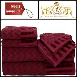 Cotton Deluxe Plush Bath Towel Chevron Pattern Burgundy Hand