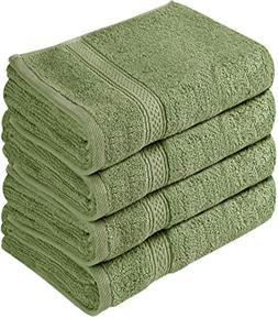 Cotton 100% Large Hand Towels Green 4 Piece Towel Set Bath T