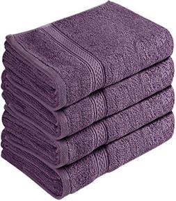 Cotton 100% Large Hand Towels Plum 4 Piece Towel Set Bath To
