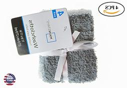 """4 Pack 100% Cotton 11"""" X 11"""" White and Grey Washcloths"""
