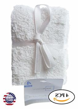 4 Pack Cotton 11 X 11 Inches White Washcloths