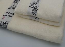 Cream 100% Bamboo Fiber Bath Towel Set Adult Bath Towel & 2