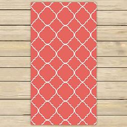 Custom Coral Quatrefoil Towels,Beach Bath Pool Sprot Travel