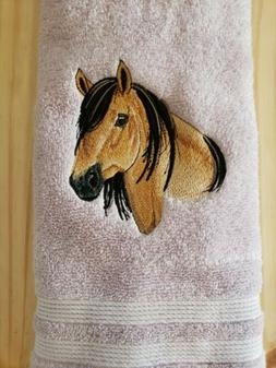 CUSTOM EMBROIDERED MUSTANG HORSE BATH HAND TOWEL SET