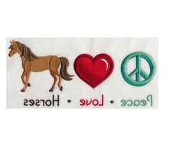 CUSTOM EMBROIDERED PEACE LOVE HORSES BATH HAND TOWEL SET