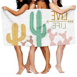 Unisex FREE Cute CACTUS Beach Towels Washcloths Bath Towels