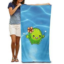 Cute Cactus Emoji Bath Towels Soft Machine Washable Easy Car
