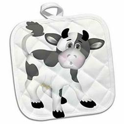 3dRose Cute Gray and White Cow Illustration Towel 15 x 22