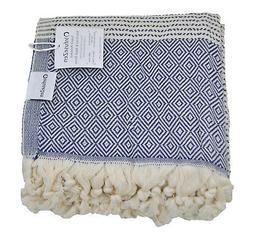 Diamond Weave Turkish Towel in Navy Blue and Cream, Large Pe
