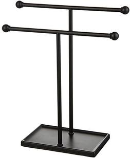 AmazonBasics Double-T Hand Towel and Accessories Stand - Bla