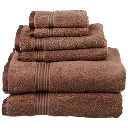 Superior 100% Egyptian Cotton Solid Bath Towel Set, Mocha, 6
