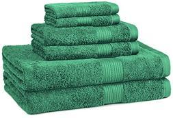 AmazonBasics Fade-Resistant Towel Set, 6-Piece, Teal