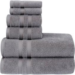 Fade Resistant Performance Bath Towel 6-Piece Solid Towel Se