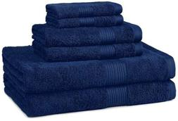 AmazonBasics Fade-Resistant Towel Set, 6-Piece, Navy Blue, B