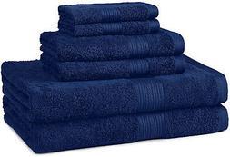 AmazonBasics Fade-Resistant Towel Set, 6-Piece, Navy Blue